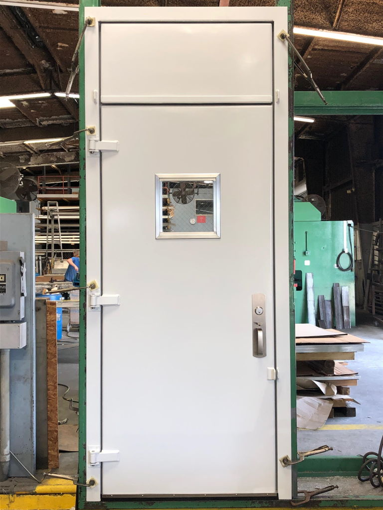"""3'-0"""" x 8'-6"""" Aluminum Container Door w/ 3'-0"""" x 7'-0"""" Door and 3'-0"""" x 1'-6"""" Transom, 3-Sided Frame with Weld On Threshold, 12"""" x 12"""" Window, Panic, Closer, Painted"""