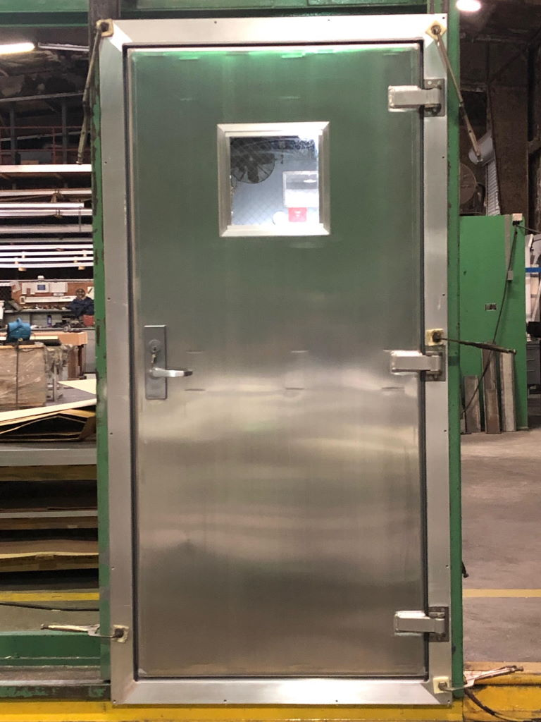"""3'-0"""" x 6'-8"""" Aluminum Container Door w/ 4-Sided Frame, 12"""" x 12"""" Window, Panic, and Closer"""