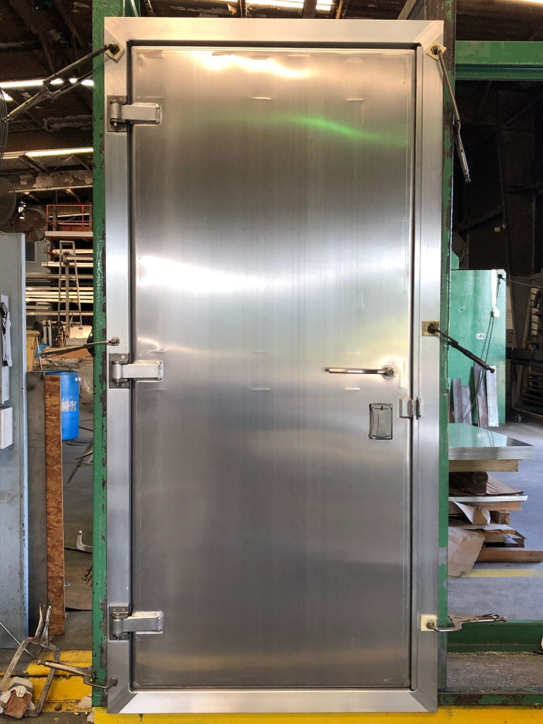 """3'-0"""" x 7'-0"""" Aluminum Container Door w 4-Sided Frame, Stainless Steel 3pt. Lock, Closer, Jimmy Lock, Cylinder Cover, Door Strip for Extra Security, Welded Hasp for Pad Lock"""